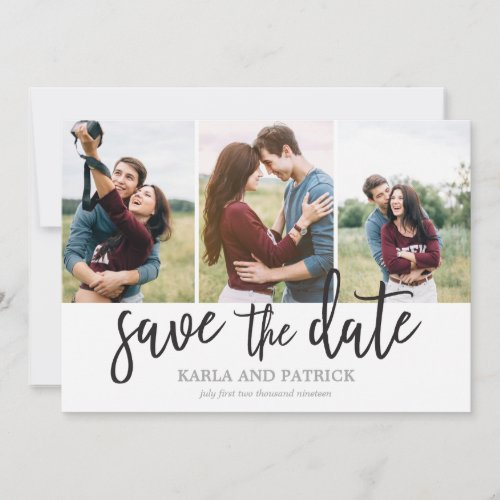 Romantic Script Photo Collage Save The Date