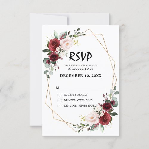 Romantic Watercolor Burgundy Floral Geometric RSVP Card