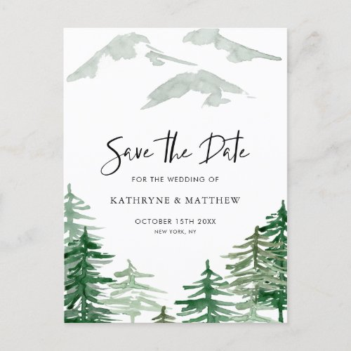 Romantic Watercolor Woodland Forest Save the Date Announcement Postcard