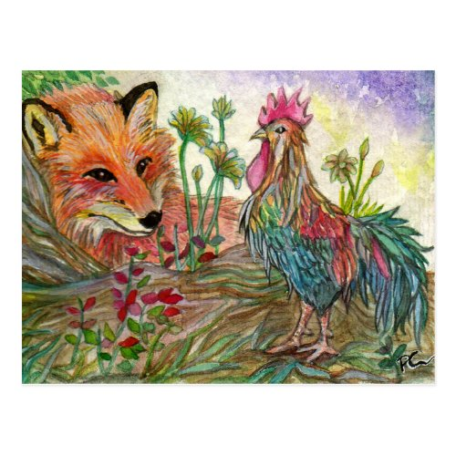 Rooster And Fox Postcard