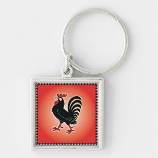 Rooster Attitude Silver-Colored Square Keychain