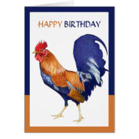 Rooster border Happy Birthday Card