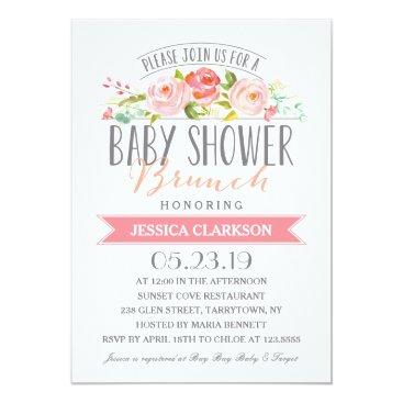 Rose Banner Brunch | Baby Shower Invitation