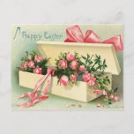 Sweet Vintage Pink Roses Happy Easter Postcard