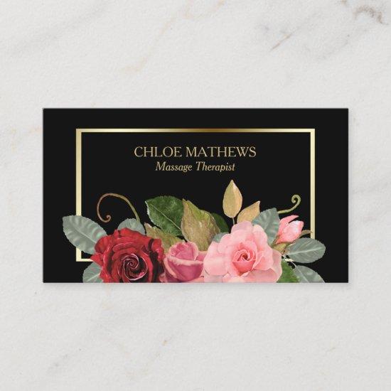 Rose Floral Gold Frame Professional Business Card