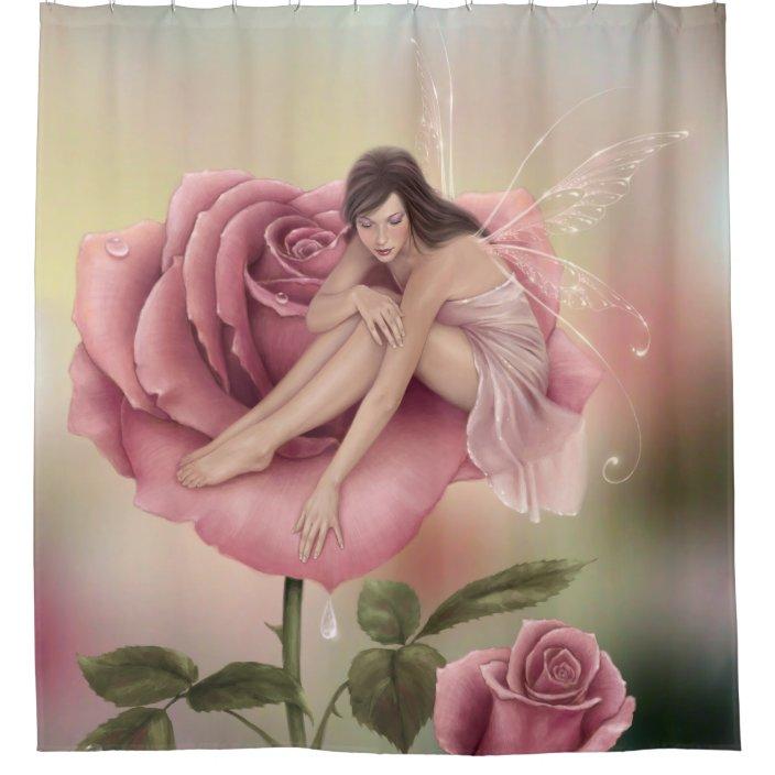 rose flower fairy shower curtain zazzle com
