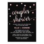 Rose Gold & Black Glam Confetti Couples Shower Invitation