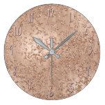 Rose Gold Blush Pink Glam Sparkle Crackle Chic Large Clock