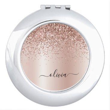 Rose Gold - Blush Pink Glitter Metal Monogram Name Compact Mirror