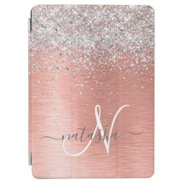 Rose Gold Brushed Metal Glitter Monogram Name iPad Air Cover