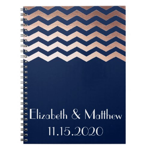 Rose Gold Chevron Personalized Wedding Planner Notebook