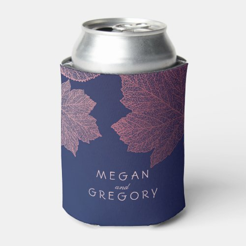 Rose Gold Fall Leaves Navy Blue Rustic Wedding Can Cooler