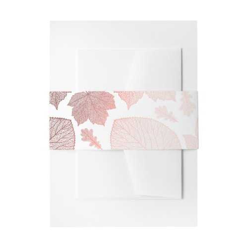 Rose Gold Fall Leaves Pattern Invitation Belly Band