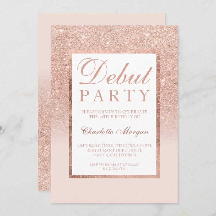 rose gold glitter blush pink debut 18th birthday invitation zazzle com