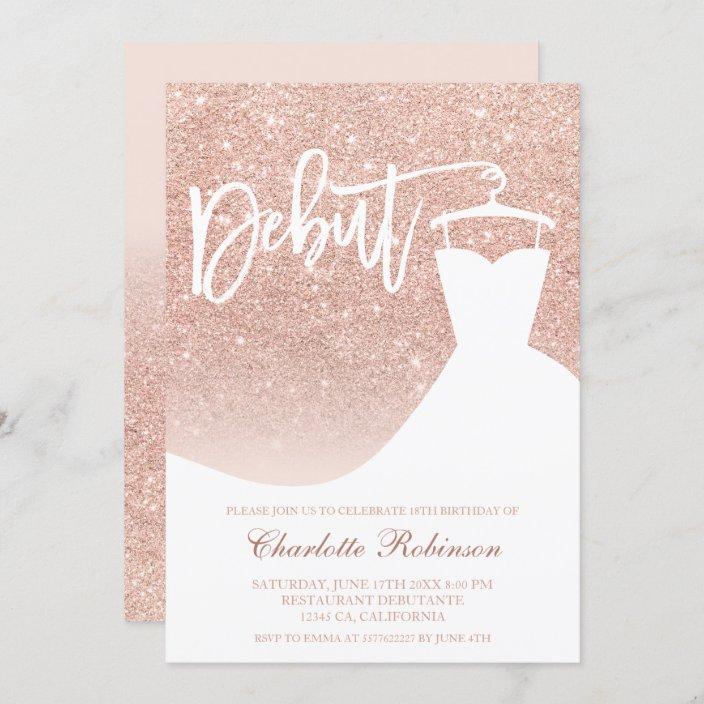 rose gold glitter elegant chic dress 18th debut invitation zazzle com