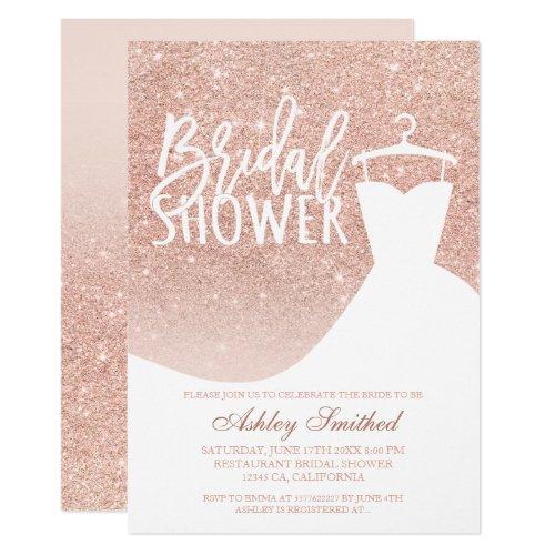 Rose gold glitter elegant chic dress Bridal shower Invitation