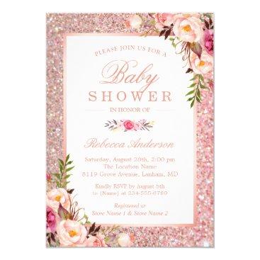 Rose Gold Glitter Pink Floral Girl Baby Shower Invitation