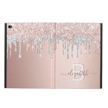 Rose gold glitter pink silver monogram sparkle powis iPad air 2 case