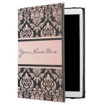 "Rose Gold Gradient | Damask Pattern on Black iPad Pro 12.9"" Case"