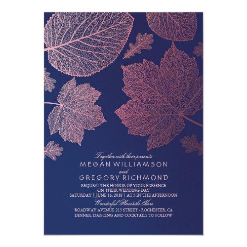 Rose Gold Leaves Elegant Fall Wedding Invitations