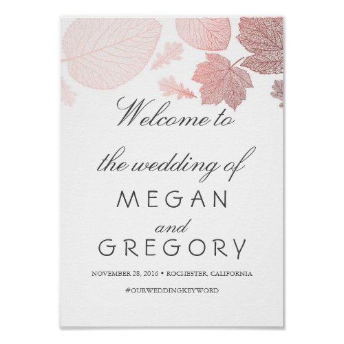 Rose Gold Leaves Fall Wedding Welcome Sign Poster