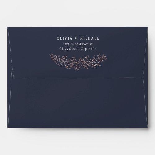 Rose gold navy botanical foliage return address envelope