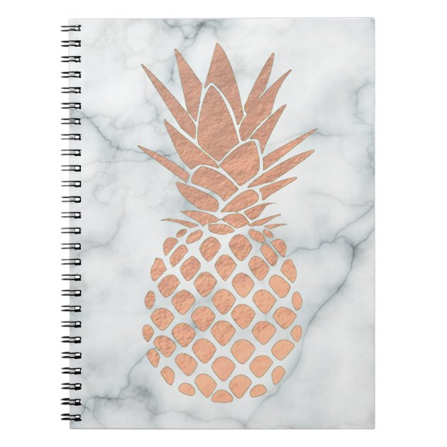 Rose Gold Pineapple On Marble Notebook