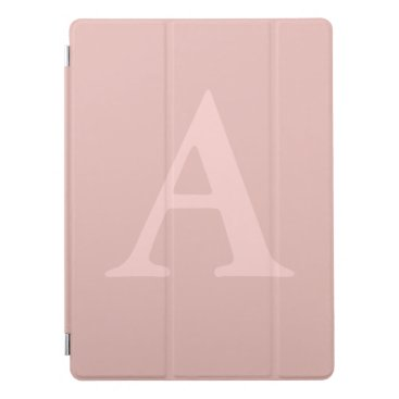 Rose Gold Pink Simple Monogram iPad Pro Cover