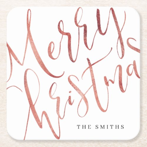 Rose Gold Simple Calligraphy Merry Christmas Square Paper Coaster