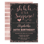 Rose Gold Surprise Birthday Party Women Glitter Invitation (easily customized to 40)