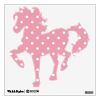 Rose Pink Polka Dot Horse Wall Decal | Zazzle