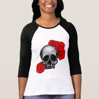 Roses Skull 3/4 Sleeve Ladies Shirt