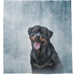 Rottweiler dog shower curtain