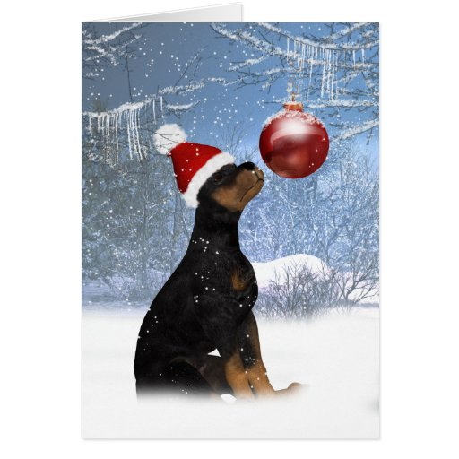 Rottweiler Puppy Christmas Holiday Card Zazzle