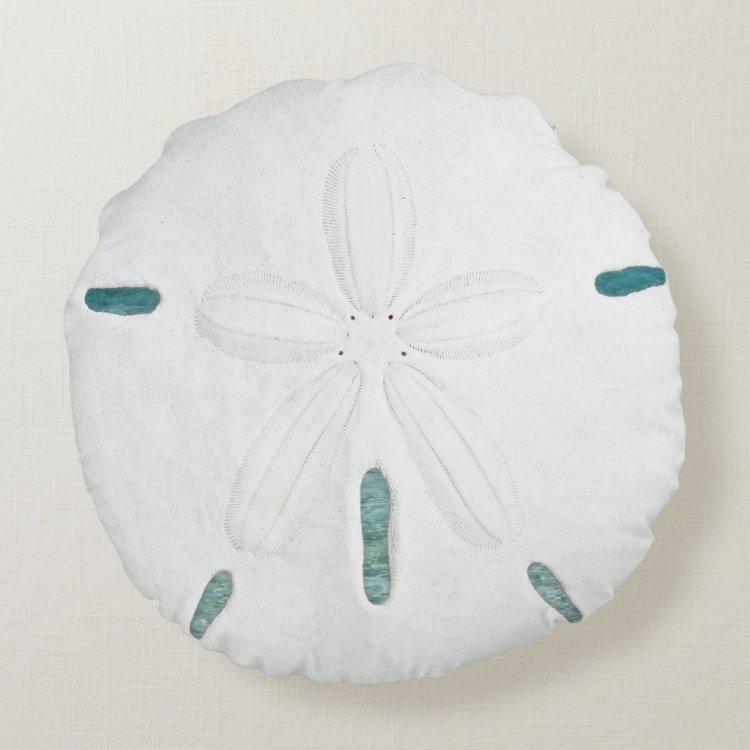 Round White Sand Dollar Home Decor Pillow