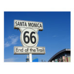 Route 66 California Santa Monica end of trail Postcard