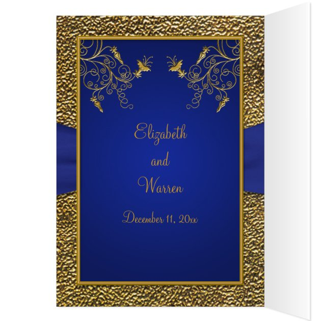 Royal Blue And Gold Card Style Wedding Invite Zazzle