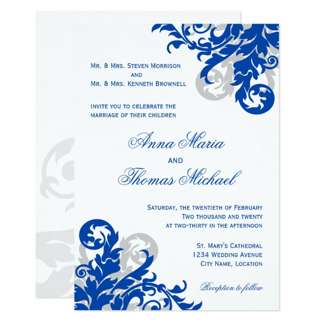Royal Blue And Silver Flourish Wedding Invitation