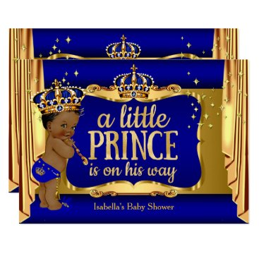 Royal Blue Gold Boy Prince Baby Shower Ethnic Card