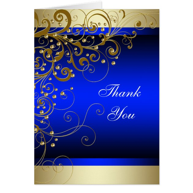 Royal Blue Gold Thank You Cards Zazzle Com