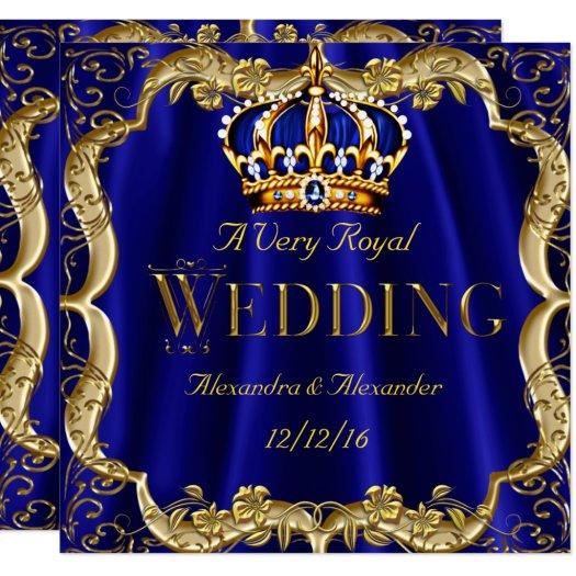 Royal Blue Navy Wedding Gold Crown 2 Card