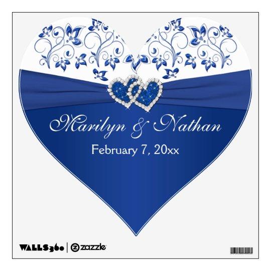 Royal Blue White Floral Wedding WallFloor Decal  Zazzle