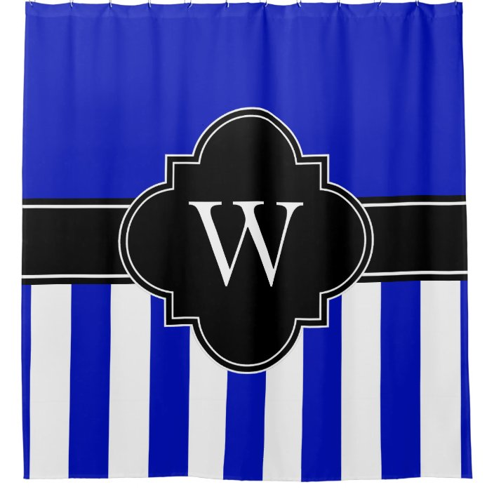 royal blue white lg stripe 1icbr black monogram shower curtain zazzle com
