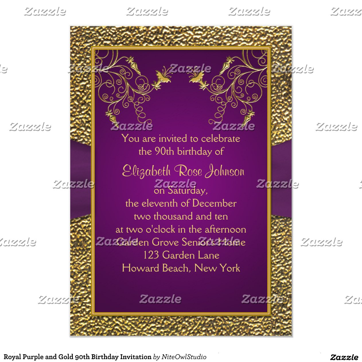 Purple And Gold 90th Birthday Invitation