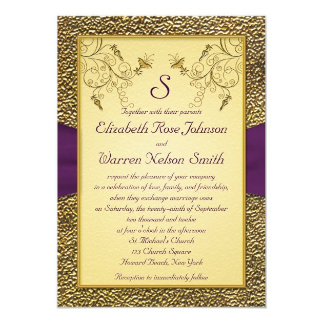 royal purple and gold monogram wedding invitation