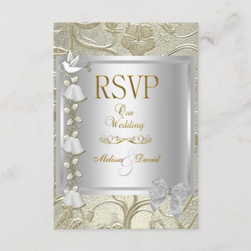 RSVP Elegant Wedding Gold Silver White Dove Damask