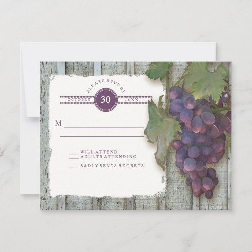 RSVP Red Wine Vintage Wood n Vineyard Wedding