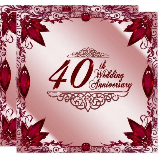 Ruby 40th Wedding Anniversary 525x525 Invitation  Zazzlecom
