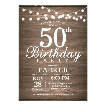 Rustic 50th Birthday Invitation String Lights Wood
