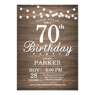 Rustic 70th Birthday Invitation String Lights Wood
